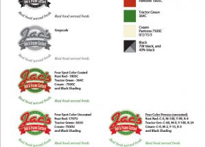 Example of a Mark Usage Sheet for Jac's Deli & Frozen Custard.